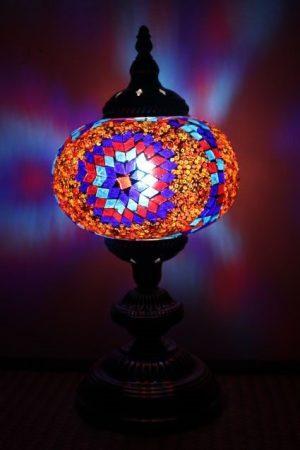 Turkish Mosaic Table Lamp Large Purple Red