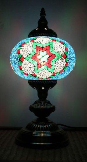 Turkish Mosaic Table Lamp Large Teal/Red