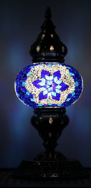 Turkish Mosaic Table Lamp Medium Blue
