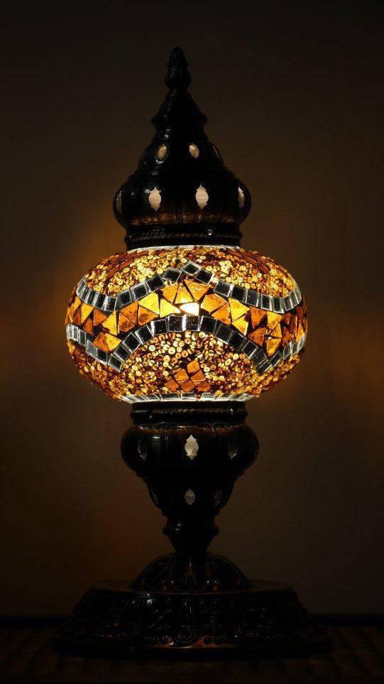 Turkish Mosaic Table Lamp Medium Rustic Brown Nirvana