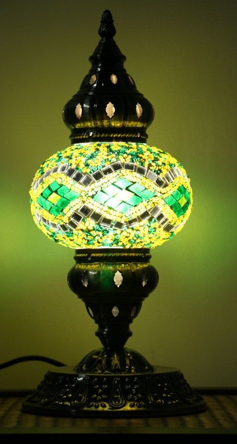Turkish Mosaic Table Lamp Medium Green