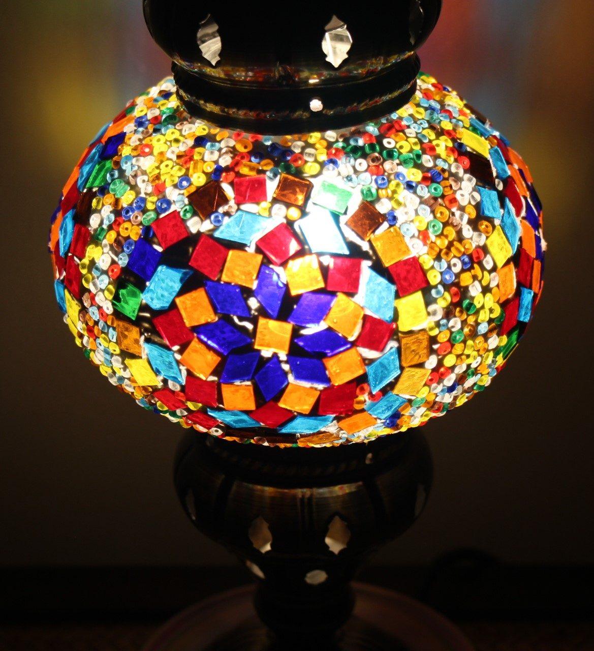 Turkish Mosaic Table Lamp Medium Orange Glow - Nirvana
