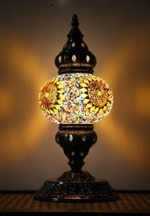 Turkish Mosaic Table Lamp Medium Mosaic Flower Burst