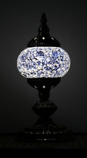 Turkish Mosaic Table Lamp Small Cracked Blue