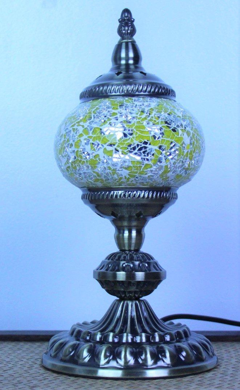 Turkish Mosaic Table Lamp Cracked Gold With Large Elegant