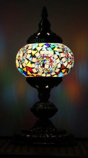 Turkish Mosaic Table Lamp Small Mosaic Moon Orbit