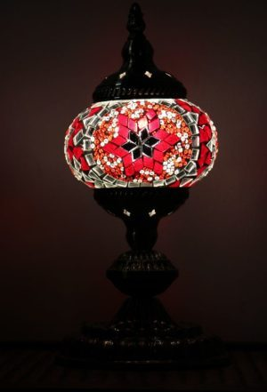 Turkish Mosaic Table Lamp Small Red