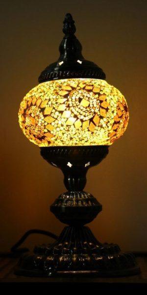 Turkish Mosaic Table Lamp Small Yellow Gold