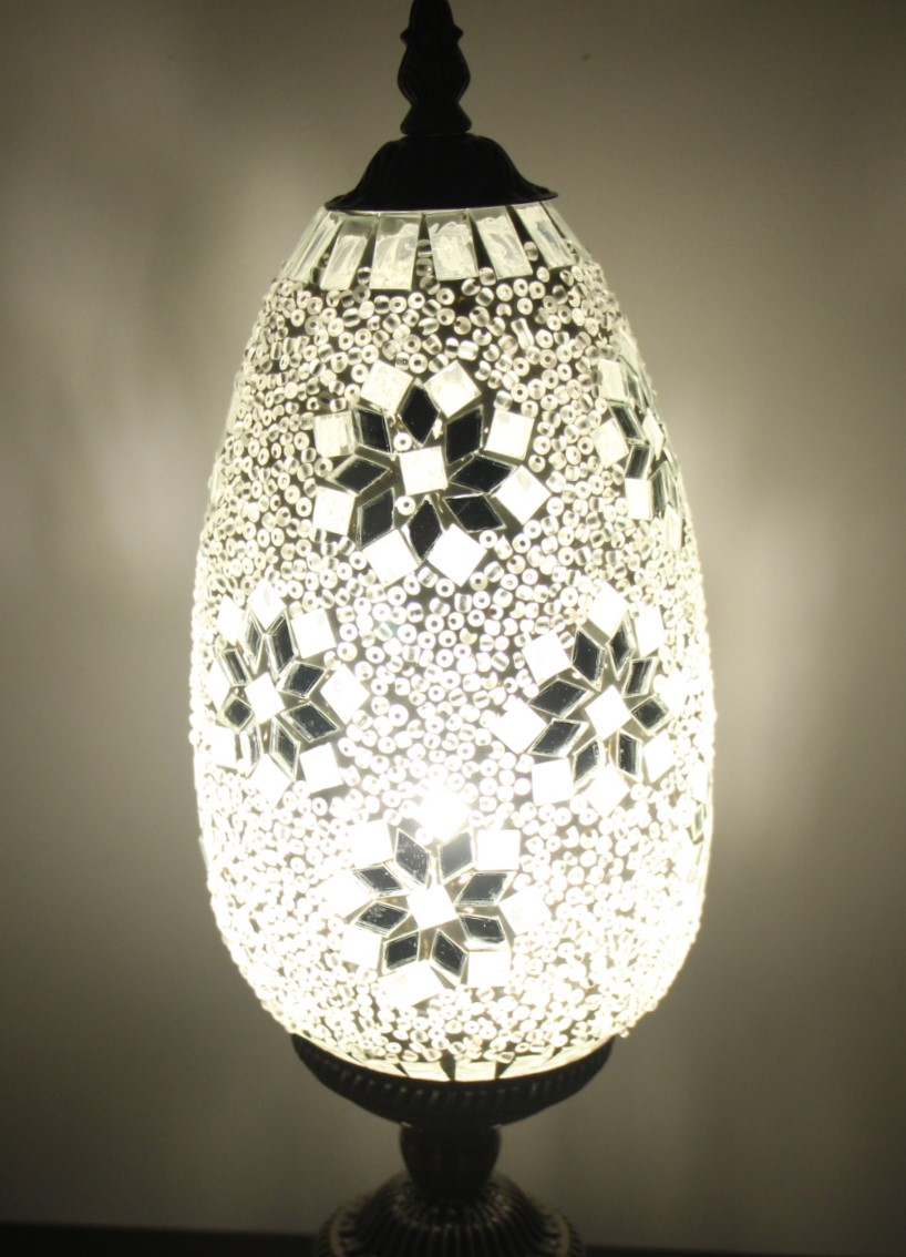 Turkish Mosaic Table Lamp Tear Drop White Nirvana