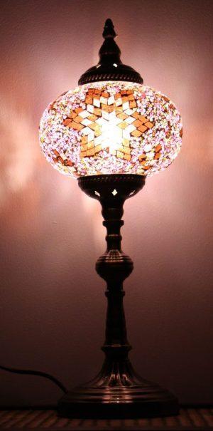 Turkish Mosaic Table Lamp XLarge Purple Brown