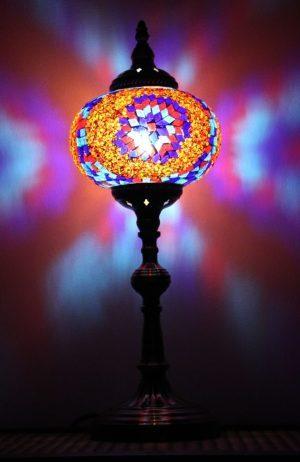 Turkish Mosaic Table Lamp XLarge Purple Red