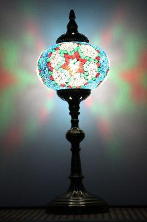 Turkish Mosaic Table Lamp XLarge TealRed