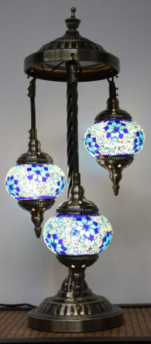 Turkish Mosaic Floor Lamp 3 globe Purple Blue
