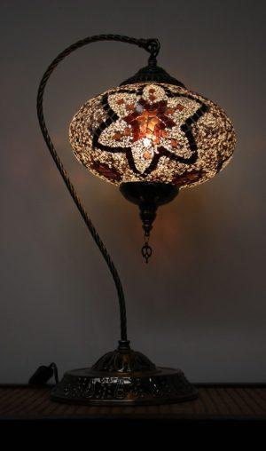 Turkish Mosaic Swan Table Lamp Large Brown