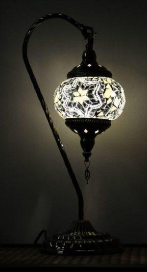 Turkish Mosaic Swan Table Lamp White