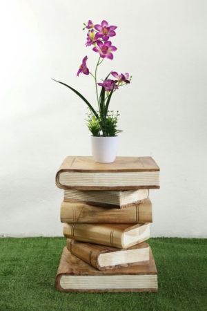 Wooden Book Table White Pages