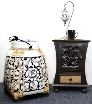 Xlarge 60cm Rice Basket Cream Finish With Black Background