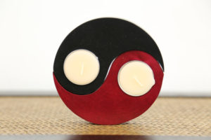Ying and Yang Tea Light Holder Black And Red