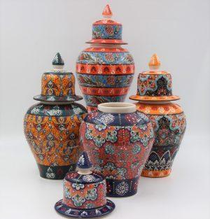 Hand Made Turkish Ceramic Shah Vases